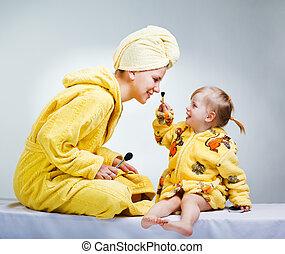 bagno, trucco, figlia, secondo, mettere, madre