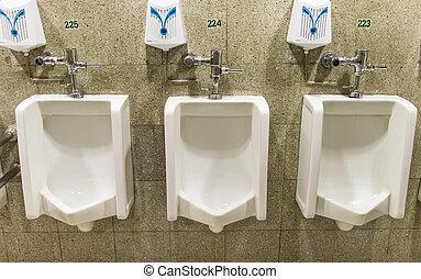 bagno, urinals, 3, uomini, collezione