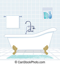 bagno, vasca bagno, vendemmia, stile