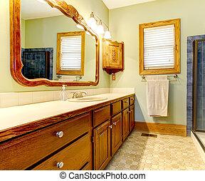 bagno, vecchio, verde, walls., gabinetto, semplice