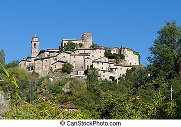 Bagnone town, Lunigiana area, Massa Carrara, Tuscany, Italy, a typical ancient Medieval village.