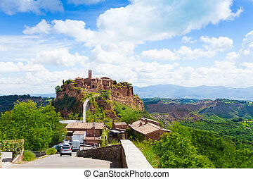 Bagnoregio town fortification, Lazio, Italy fort with bridge from the modern village