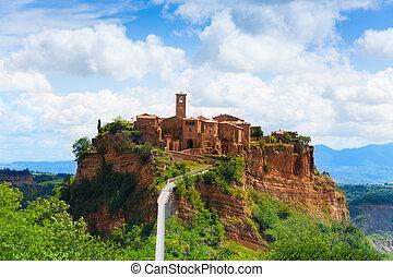 Bagnoregio town fortification, Lazio, Italy fort with bridge