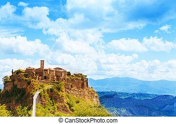 Bagnoregio town on the cliff in Lazio, Italy