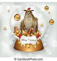 bagoly, álló, alatt, karácsony, snowglobe