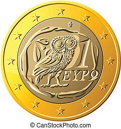 bagoly, arany, pénz, egy, görög, vektor, felvázoló, érme, euro