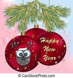 bagoly, köszönés, év, új, balls., kártya, boldog