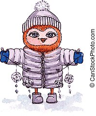 bagoly, tél, garland., watercolor., vektor, öltözék