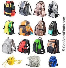 bagpacks, conjunto, #1., 15, objects., vista delantera, |, aislado