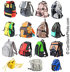 Bagpacks set #1. 15 objects. Front view | Isolated
