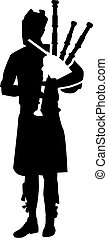Bagpipe player silhouette