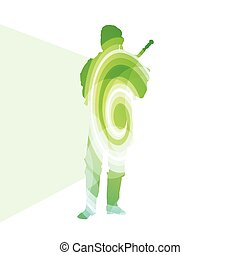 Bagpiper Scottish man silhouette illustration vector background colorful concept made of transparent curved shapes