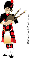 Bagpiper - Vector Illustration cartoon of a bagpiper piping.