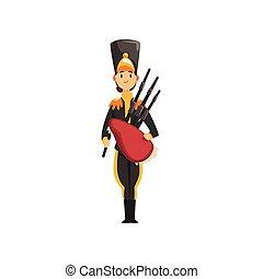 bagpipes, exército, ilustração, uniforme, membro, soldado, vetorial, instrumento, fundo, faixa, militar, branca, musical