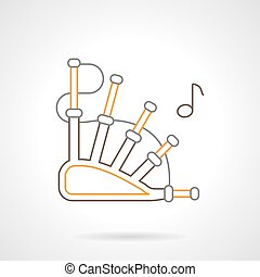 Bagpipes flat line vector icon