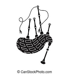 Bagpipes icon in black style isolated on white background....