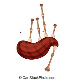 Bagpipes icon in cartoon style isolated on white background....