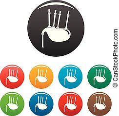 Bagpipes icons set color - Bagpipes icons set 9 color vector...