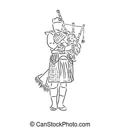 Bagpipes instrument sketch vector illustration. Scratch board style imitation. Black and white hand drawn image.