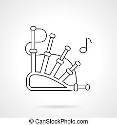 Bagpipes melody flat line vector icon
