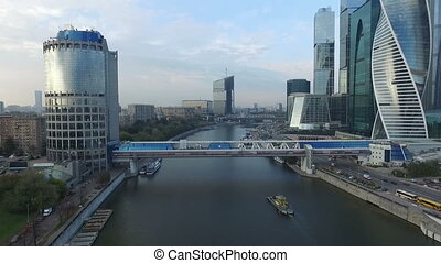 Bagration bridge near Moscow City - aerial view HD