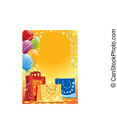 Bags and balloons - Shopping bags and colorful balloons, ...