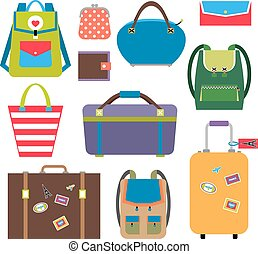 Bags and luggage flat icons set. Baggage and travel, briefcase and case. Vector illustration