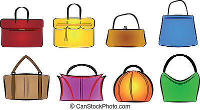 bags and purses vector illustration set