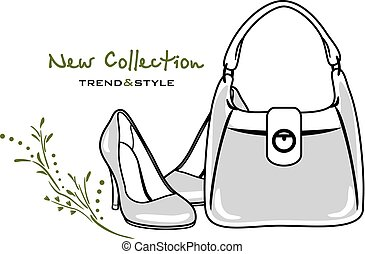 Bags and shoes. New collection. Icon for vintage design