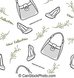 Bags and shoes. New collection. Seamless pattern