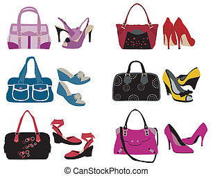 Bags and shoes on the white background