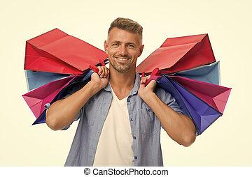 bags., après, blanc, homme, lourd, paquets, présente., soin, shopaholic., purchase., beau, isolé, remerciement, avide, heureux, shopping., happiness., achats, dons, ton, acheteur, achat, mâle