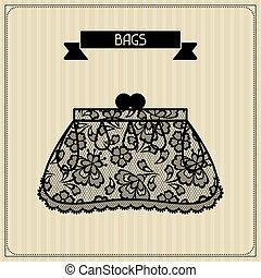 bags., encaje, vendimia, ornament., plano de fondo, floral