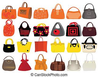 bags - set woman's bags vector