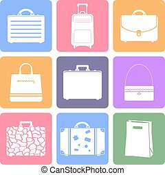Bags flat icons