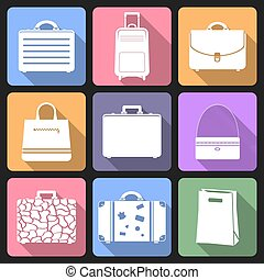 Bags flat icons with long shadow