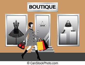 bags, gå, kvinder, forside, indkøb, udstillingsmontre, boutique