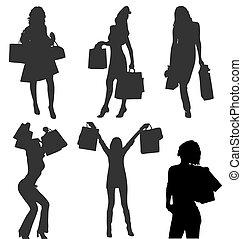 bags., gallery., shopaholic, ragazze, silhouette, vettore, ...