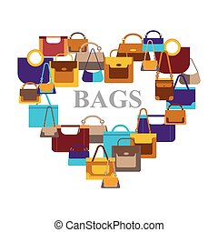 Bags icons in shape heart