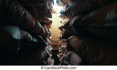 Bags in a stock at the factory of macaroni