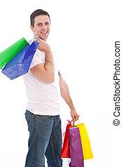 bags., jelentékeny, bevásárlás, ember