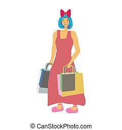 bags., m�dchen, shoppen, asiatisch