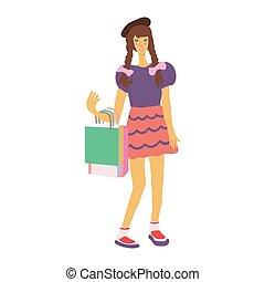 bags., m�dchen, shoppen, junger, asiatisch