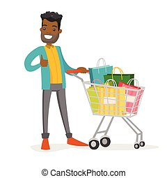 bags., man, shoppen , jonge, afrikaans-amerikaan