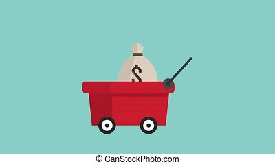 bags of money in moving cart icons money icons animation...