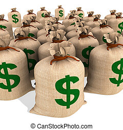 Bags Of Money Showing American Finances And Economy