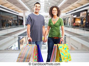 bags., paar, papier, shoppen