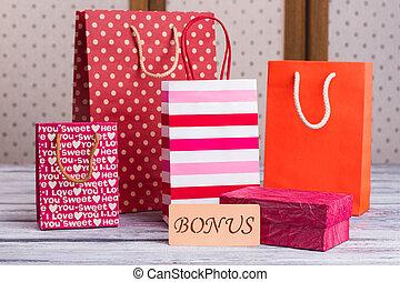 bags., papier, achats, variété
