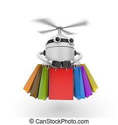 bags., roboter, abbildung, brummen, shoppen, 3d