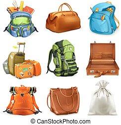 Bags set. Backpack, schoolbag, suitcase, sack, 3d vector...
